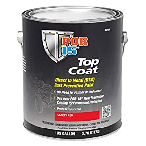 POR-15 46101 Top Coat Safety Red Paint 128 fl. oz.
