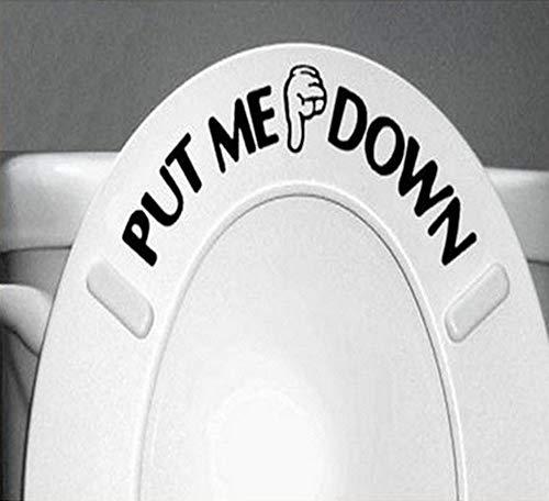 Ponme Abajo Carta Divertido Asiento de Inodoro Etiqueta de la Pared Gesto calcomanía de la Mano baño Divertido Asiento de Inodoro Etiqueta de la Pared Signo decoración para el hogar