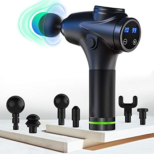 Massage Gun Deep Tissue Percussion Muscle Massager (2020 Upgraded Version) for Pain Relief Stiffnes Handheld Electric Body Massager Athletes Sports Drill Portable Super Quiet Brushless Motor 20 Speed