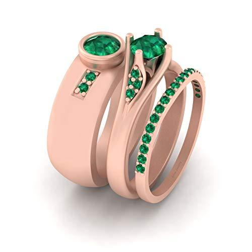 Juego de anillos de promesa de oro rosa Fn 925 de plata de ley para él y ella