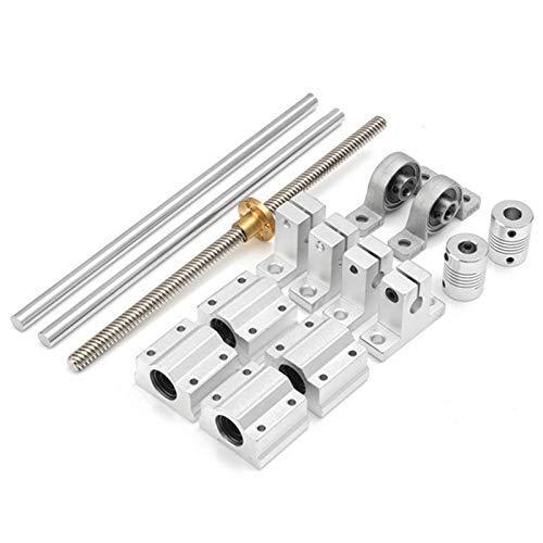 QOHFLD Accesorios de Impresora 15 Uds 200Mm Carcasas de cojinetes de guía de Eje óptico Eje de riel de Aluminio Varilla de Tornillo de Plomo Eje de buje Deslizante Acoplamiento Piezas CNC