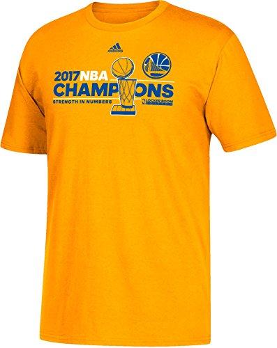 Adidas Golden State Warriors 2017NBA Finals Champions Oficial Vestuario Dorado T-Shirt, Hombre, Dorado