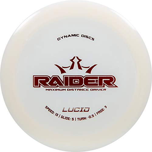 Dynamic Discs Lucid Raider Disc Golf Driver | 170g Plus | Maximum Distance Frisbee Golf Driver | Stamp Color Will Vary (White)