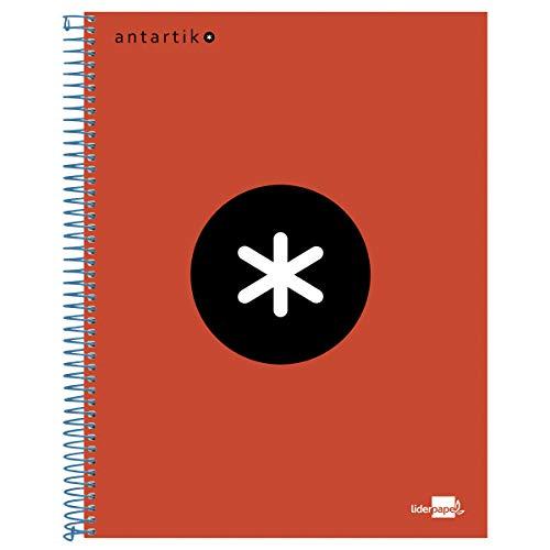Liderpapel Cuaderno Espiral  A4 Micro Antartik Tapa Forrada 120H 100 Gr Cuadro 5 Mm 5 Bandas 4 Taladros Color Rojo