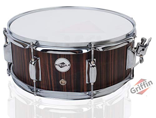 Snare Drum by GRIFFIN | 14' x 5.5' Black Hickory PVC & Coated Head on Poplar...