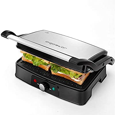 Aigostar Sandwich Panini Press, Non-Stick Plates Sandwich Toaster Maker, 180° Flat Open Electric Health Grill, Stainless Steel, Temperature Controller, Easy to Clean