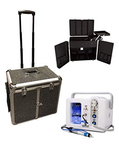 Fußpflege-Erstausstattung/Fußpflege-Set CS Mia/Top Fußpflegegerät mit einem Fußpflege Koffer Podologie Set 2-teilig (Schwarz-Glitzer)