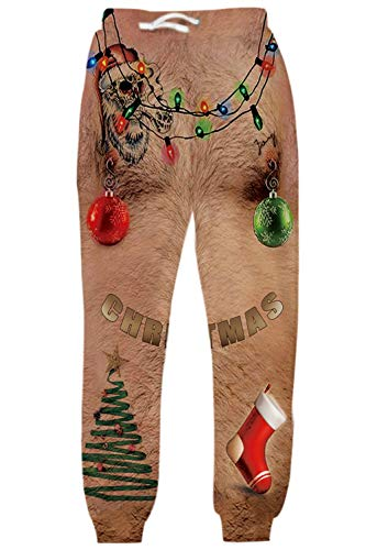 Belovecol Men's Ugly Christmas Jogger Sweatpants 3D Print Funny Fake Nake Hairy Legs Graphic Pattern Jogging Pants Trousers with Drawstring Pocket for Casual Daily Fitness XL