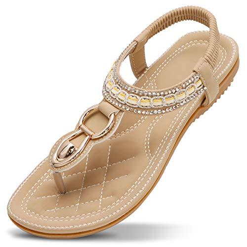 ZOEREA Mujeres Sandalias Planas Verano Elegante Bohemia Rhinestone Playa Chanclas Correa Elástica Punta Abierta Casuales Damas Zapatos Estilo 3 Beige, 40 EU