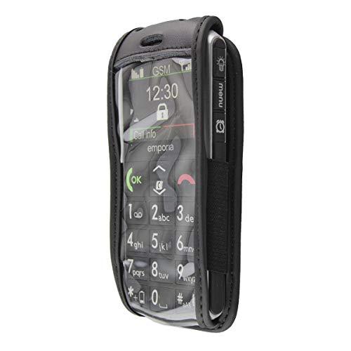 caseroxx Hülle Ledertasche mit Gürtelclip für Emporia Pure V25 aus Echtleder, Tasche mit Gürtelclip & Sichtfenster in schwarz