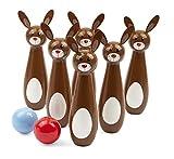 Small Foot 11405 Juego de Bolos de Madera con Conejos, Seis Bolos Pintados a Mano con Orejas de...
