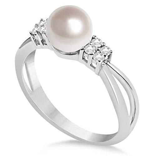 Diamante Acentuado Akoya Anillo de perlas cultivadas 14K Oro blanco 6.5-7mm, Anillo de compromiso de oro Por siempre uno, Anillo de bodas, Anillo de oro de la promesa