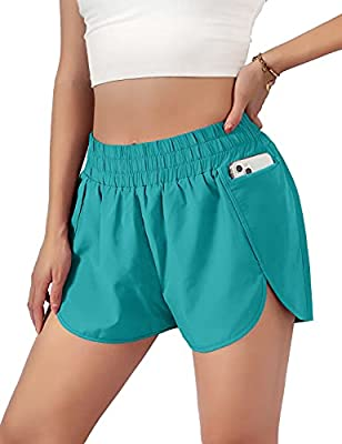 """Blooming Jelly Womens Quick-Dry Running Shorts Sporty Layer High Waist Athletic Workout Shorts with Pockets 1.75"""" (Large, Lake Blue)"""