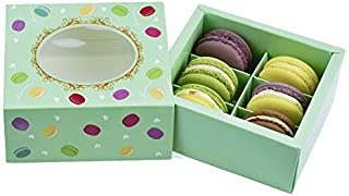 Macaroon Boxes,Cookie Container Pastry Holder with Inserts and Display Windows Fits 4 Macaroons-12Pack