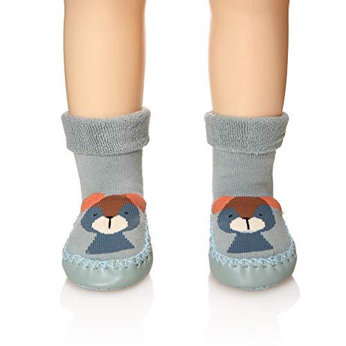 Eocom Baby Boy Girls Toddlers Moccasins Non-Skid Indoor Slipper Shoes Socks (Green, 18-24 Months)