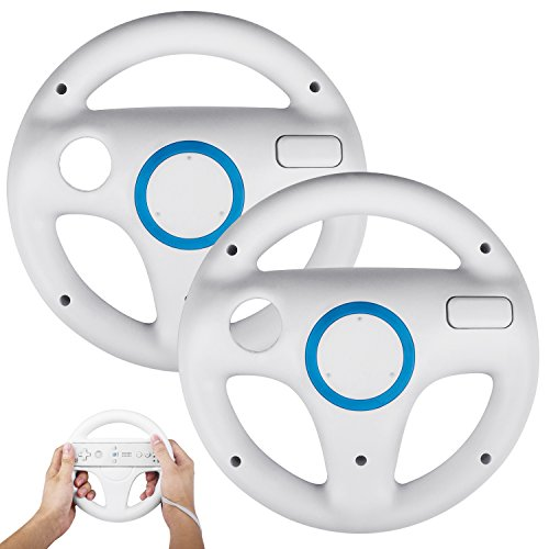 2 Stück Spiele Lenkrad Kompatibel mit Mario Kart Wii,Beinhome Racing Wheel Lenkrad Fernbedienung für Nintendo Wii Spiele und Wii U Racing Spiele(Weiß)