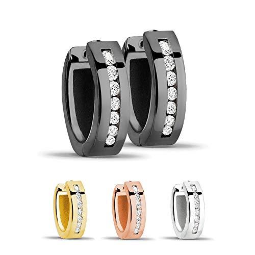 Treuheld® | Creolen/Ohrringe aus 925 Sterling Silber | 4mm x 13mm | Schwarz mit Glitzer - Kristallen | Klappcreolen für Damen | Set Paar