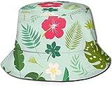 BONRI Sombreros de Cubo Transpirables con Parte Superior Plana Sombrero de Cubo Unisex con Rayas onduladas Sombrero de Pescador de Verano-Hojas Tropicales. Palm-One Tamaño