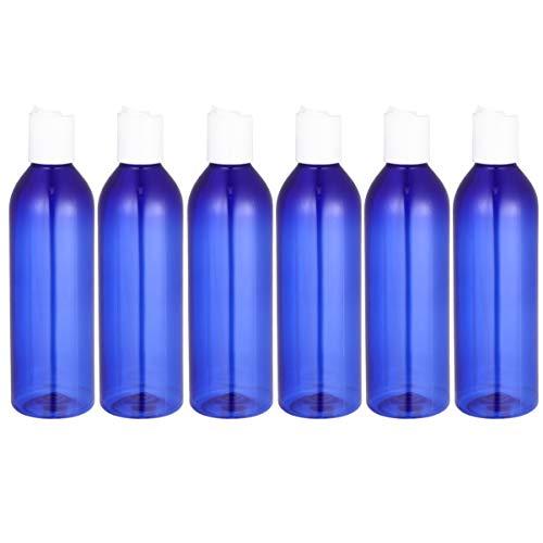 Minkissy 6Pcs 250Ml Bouteilles de Voyage Portables Bouteilles en Plastique Rechargeables Bouteille en Plastique avec Bouchon à Disque pour Shampooing Lotion (Bleu)