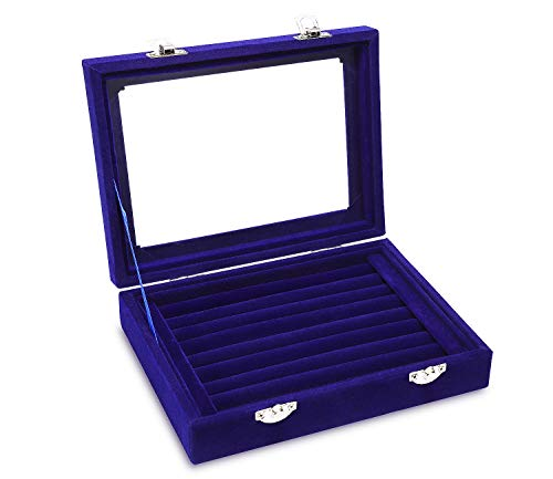 Pasutewel Jewellery Gift Box Jewelry Organizer Storage Ring Earring Boxes 7 Slots, Travel Small Jewellery Velvet Case Display with Mirror for Girls, Women Blue