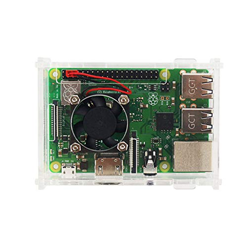 Fransande Für Raspberry Pi 3 Modell B + (Plus) Acryl Fall Transparent Box Shell Abdecken + Lüfter + Aluminium Kühlk?rper Für Raspberry Pi 3 Model B + / B