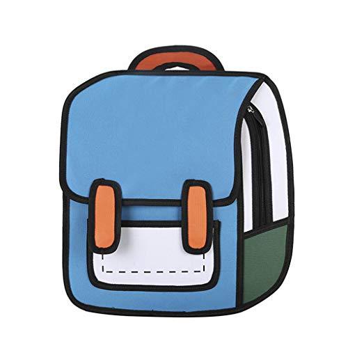 PINGDI Kreative Frauen 2D Zeichnung Rucksack Cartoon Schultasche Comic Bookbag für Teenager Mädchen Gr. One size, bl