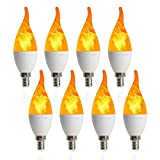 8 Pack LED Simulated Fire Flicker Flame Candelabra Bulbs,2W 1800K Warm White Flickering E12 Flame Effect Light,3 Lighting Modes Emulation, General, Breathing for Indoor and Outdoor Decoration