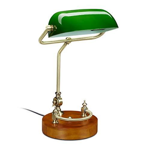 Relaxdays Bankerlampe, mit neigbarem Glasschirm & Holzfuß, Schreibtischlampe Retro/Vintage, E27, Bibliothekslampe, grün