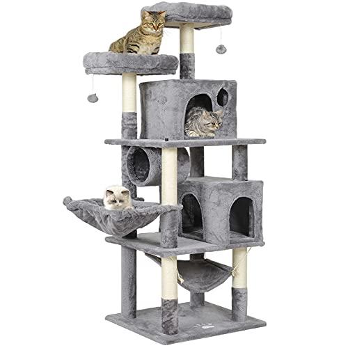 MSmask Kratzbaum groß, 165cm Katzenbaum für Gross Katzen, große Bodenplatte, kratzbaum Grosse Katzen stabil mit Sisal-Kratzstangen Höhlen, Hängematte Grau