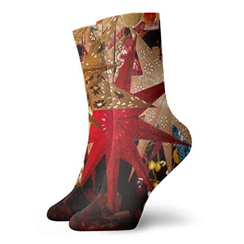 XCNGG Socken Weihnachtsstern Weihnachtsmarkt Stand Verkaufsstand Star Athletic Crew Socken Leistung Gepolsterte atmungsaktive Sport Arbeitssocken