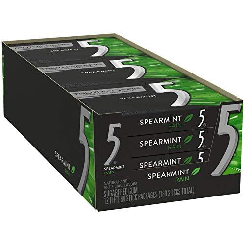 Wrigley's 5 Rain Spearmint Gum (12 Packs of 15 Pieces)