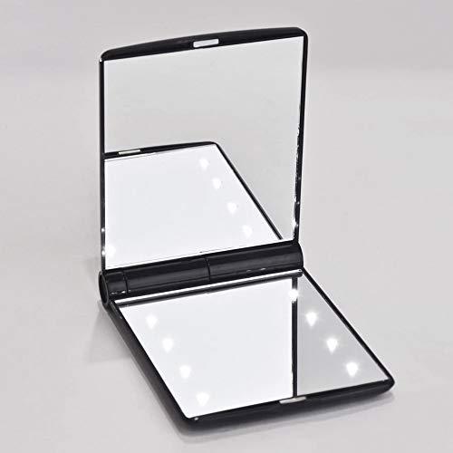 Eenvoudige spiegel, met LED-licht, make-up spiegel, prinses spiegel, opvouwbare draagbare Japanse make-up spiegel, kleine spiegel geschikt voor op reis