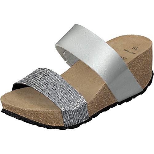 GOSCH SHOES Damen Keil Sandalette 76082 Lara Leder in 3 Farben (37 EU, Silber)