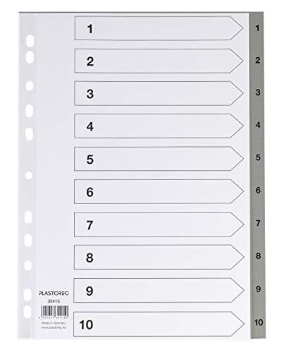 5er Set 10-teiliges Register/Trennblätter aus PP, DIN A4 mit Zahlen 1-10, volldeckend + praktischem Deckblatt aus stabilem Papier zum Beschriften. Trenn-Blätter für die Ordner-Organisation im Büro