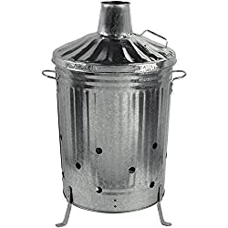 Gardman 90L Large Metal Galvanised Dustbin Incinerator