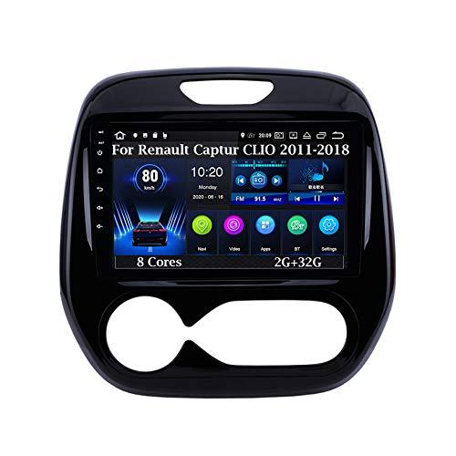 Android 10 9 Pulgadas Coche Radio De Coche GPS Navegación para Renault Captur Clio 2011-2018 8 Cores 2G+32G Pantalla Tactil para Coche Accesorios De Coche Conecta Y Reproduce Car Audio Player