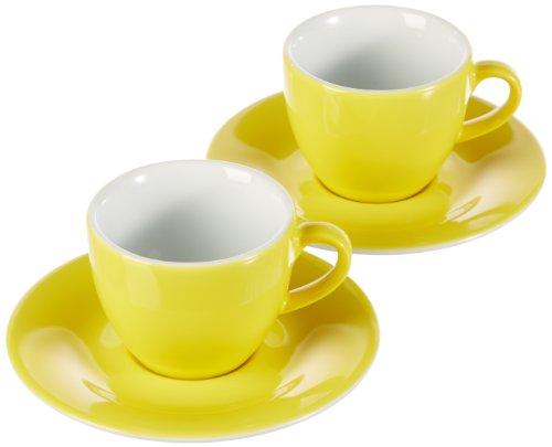 Kahla 57D167A70412C Pronto Colore gelb Porzellan 2er Espressotassen Set 4-teilig kleine Tasse 80 ml Mokkatasse Untertasse rund für 2 Personen