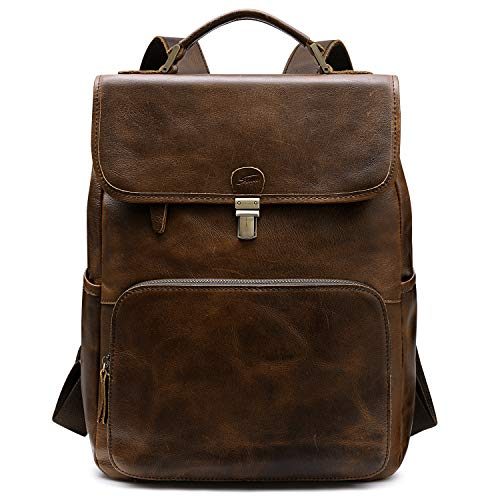 S-ZONE Genuine Leather Backpack Purse for Women School Rucksack Travel Daypack