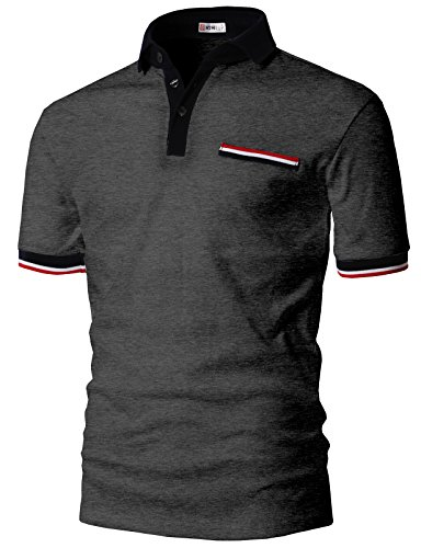 H2H Mens Handsome Color Line Point Polo T-Shirts Charcoal US M/Asia L (KMTTS0555)