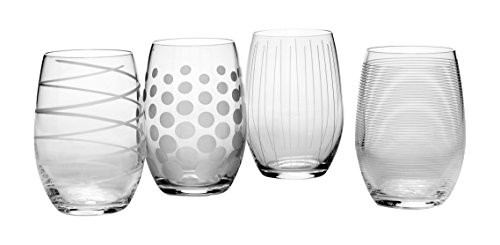 Zagg 1 Mikasa Cheers Stemless Wine Glass, 17-Ounce, Set of 4, 18/8 Edelstahl, silber