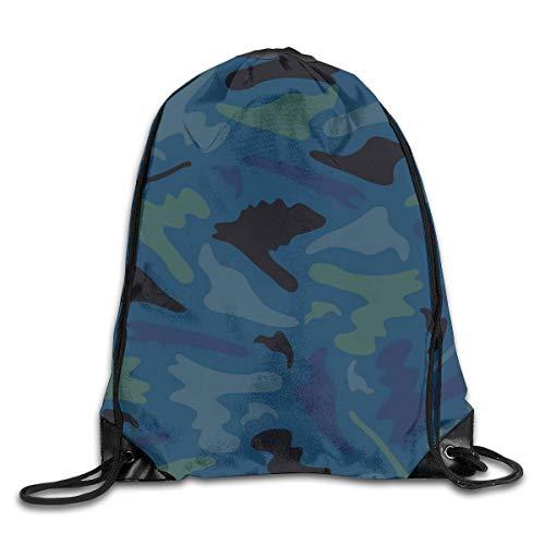 Drempad Sacs à Dos,Sacs de Sport,Camouflage Camo Army Military Tactical Navy Blue Patterned Themed Printed Drawstring Bag Shopping Travel Back Bags Draw String Gym Backpack Bulk Girl Boy Women Men