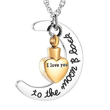 wonderful jewerly Three colors choice I Love You to the Moon and Back Urn Necklace for Ashes Memorial Keepsake Cremation Pendant Jewelry (Gold)