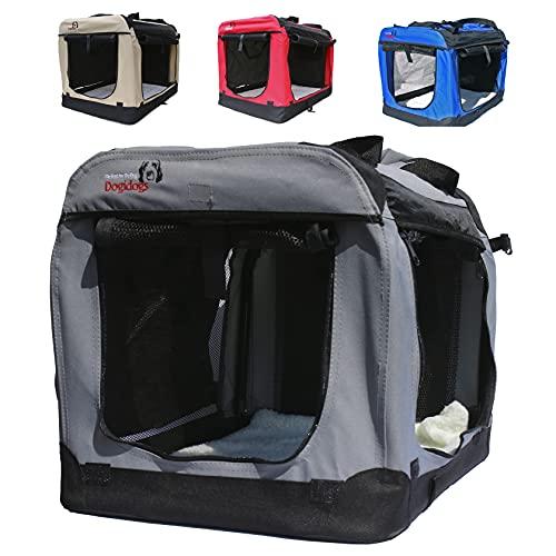 Dogidogs Faltbare Hundebox - Transportbox für Hunde Hundebox Auto - Dogi Kennel - 6 Größen, 4 Farben (XXXL (102 x 69 x 69 cm), grau)