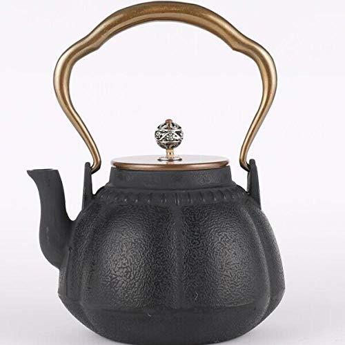 tetera Olla de hierro de hierro fundido Olla de hierro fundido de cobre y cobre Tetera de hierro de calabaza Juegos de té 1000ML-Ve la tabla