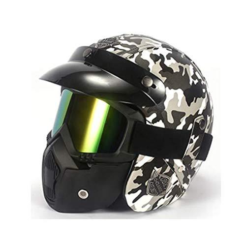 CBTJ Motorradhelm DOT Certified Pedal Cruiser Retro Camouflage Leder Harley Helm mit Schnellverschluss für Bike Cruiser Scooter Unisex,Grau,L
