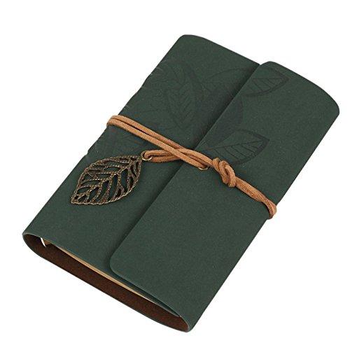 Hosaire Vintage blocco di pelle PU Diario Blocco per Appunti con ciondolo lama nuovo 14.8*10.8cm Verde