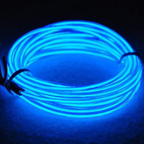 3M EL Wire Neon licht Batteriebetriebene Wire Pack Treiber mit 3 Modi Multi Farben EL Wire Hohe Helligkeit Elektrolumineszenz für Weihnachtsparty Indoor Ourdoor Dekoration Hochzeit Pub(Blau)
