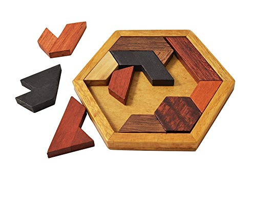 KINGZHUO Hexagon Tangram Puzzle Wooden Puzzle for Children and Adults Challenging Puzzles Wooden Brain Teasers Puzzle for Adults Puzzles Games Family Portable Puzzles Brain Games