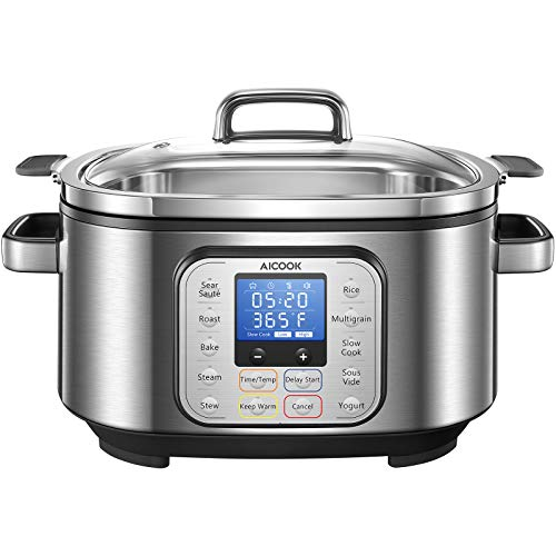 Slow Cooker 6 Quart, AICOOK 10-in-1 Multi-Cooker Programmable Steamer Food Warmer Yogurt Maker Rice Cooker with Stainless Steel Pot, Glass Lid, Delay Start Adjustable Temp and Time for Sous Vide