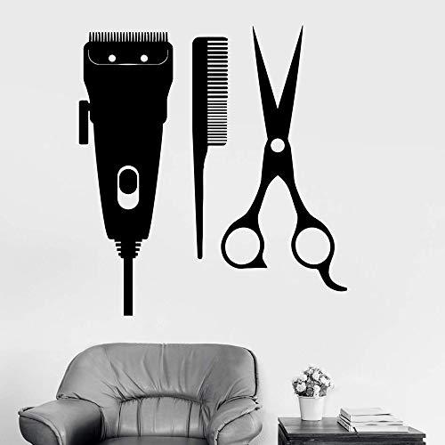 yaonuli muurstickers, vinyl, barbier, gereedschappen, kapsalon, stylish, muur, ramen, zelfklevend, afneembaar, Art Deko